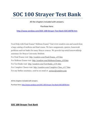 Soc 100 Strayer Test Bank By ElizabethCaperton66 Issuu