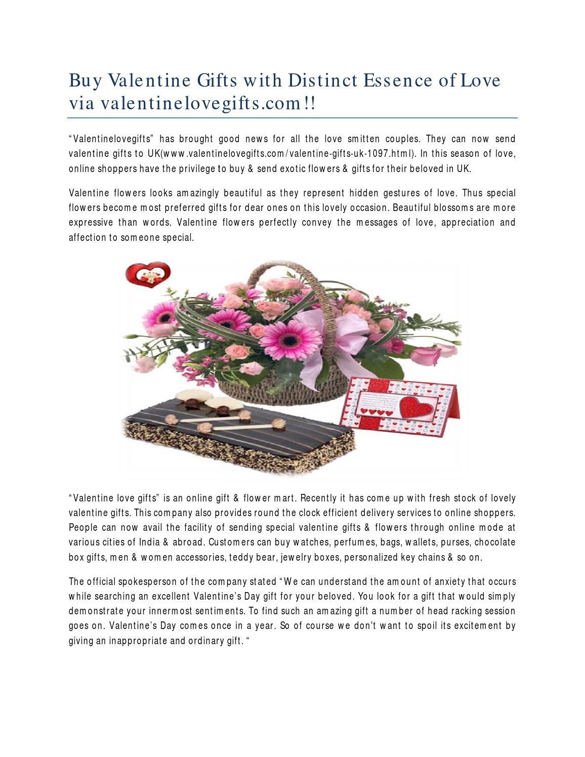 Buy Valentine Gifts With Distinct Essence Of Love Via