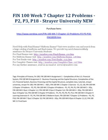 Fin 100 Week 7 Chapter 12 Problems P2 P3 P18 Strayer