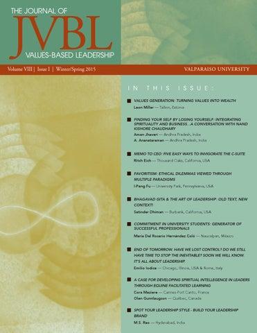 Journal Of Values Based Leadership Winterspring 2015 By