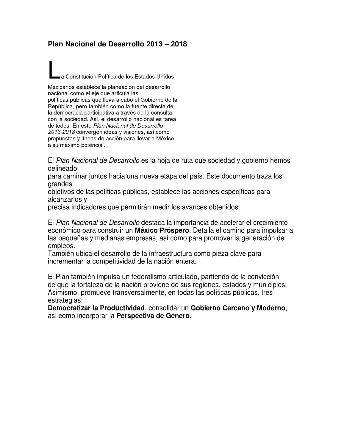 Plan nacional de desarrollo 2013 2018 eje iv méxico próspero by ...