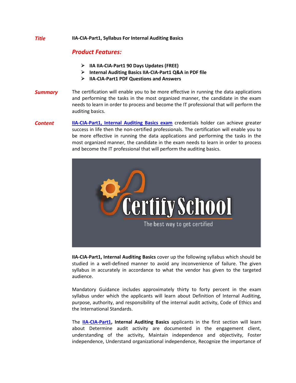 IIA-CIA-Part1 Exam Questions - Pass in First Attempt by