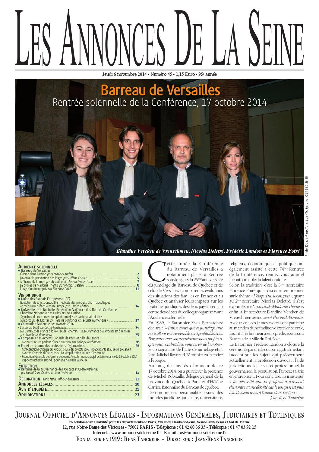 Edition du jeudi 6 novembre 2014 by annonces de la seine - Chambre nationale des huissiers annonces ...