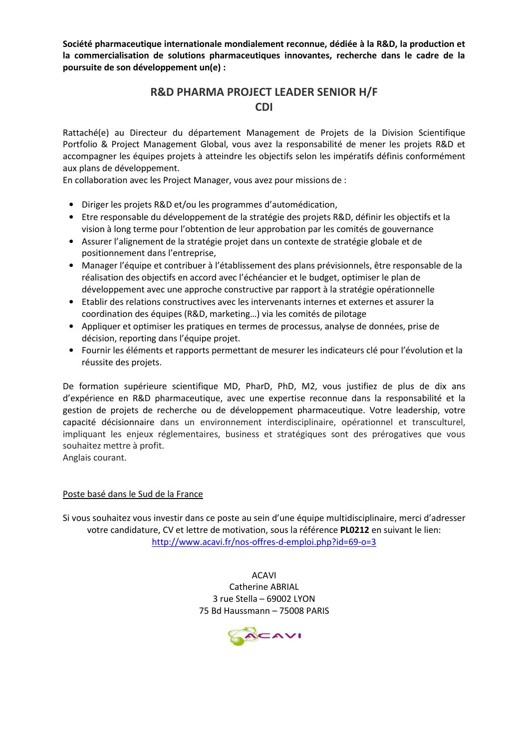 Annonce Pl0212 By Apiep Faculté De Pharmacie De Paris Sud 11