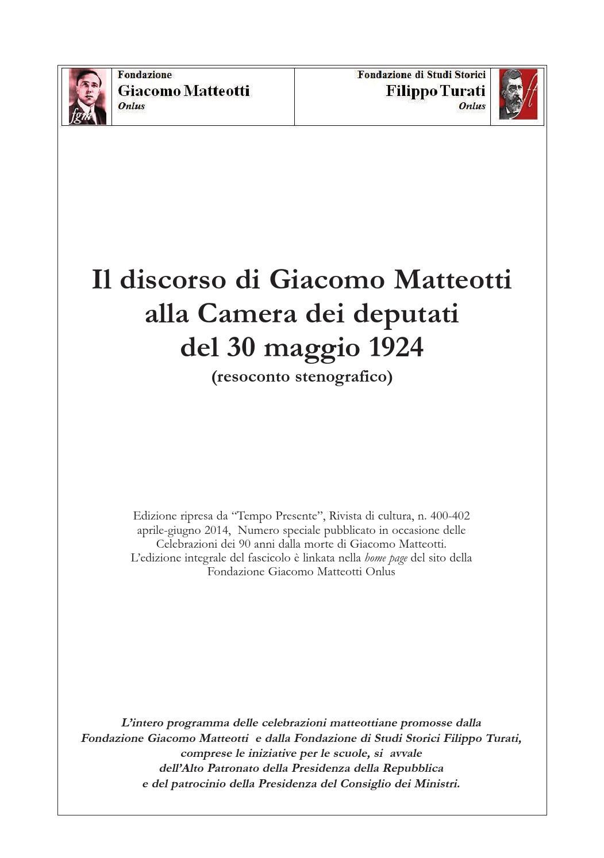 M90S Il discorso di Giacomo Matteotti alla Camera dei Deputati del 30  maggio 1924 by salvatorenasti - issuu