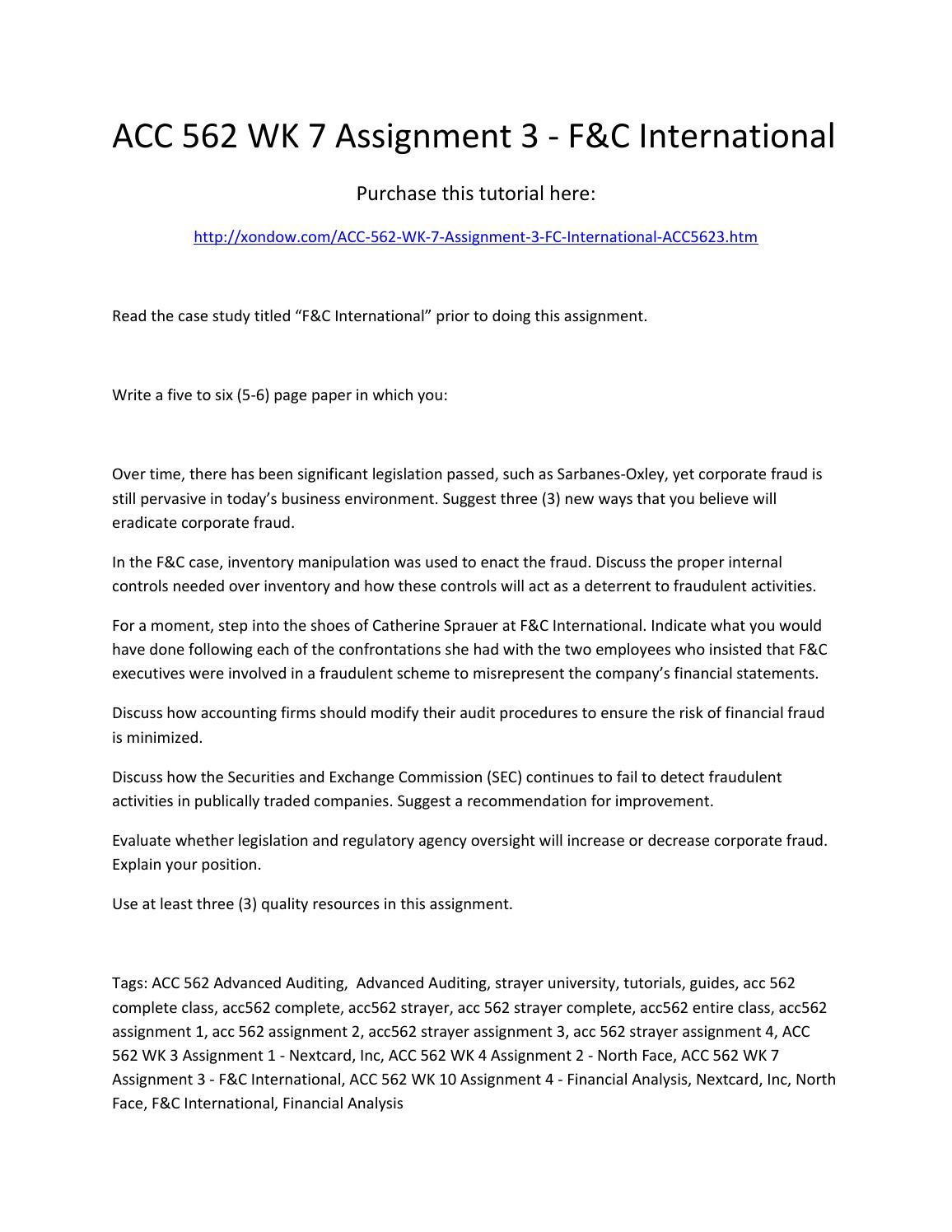f&c international case study