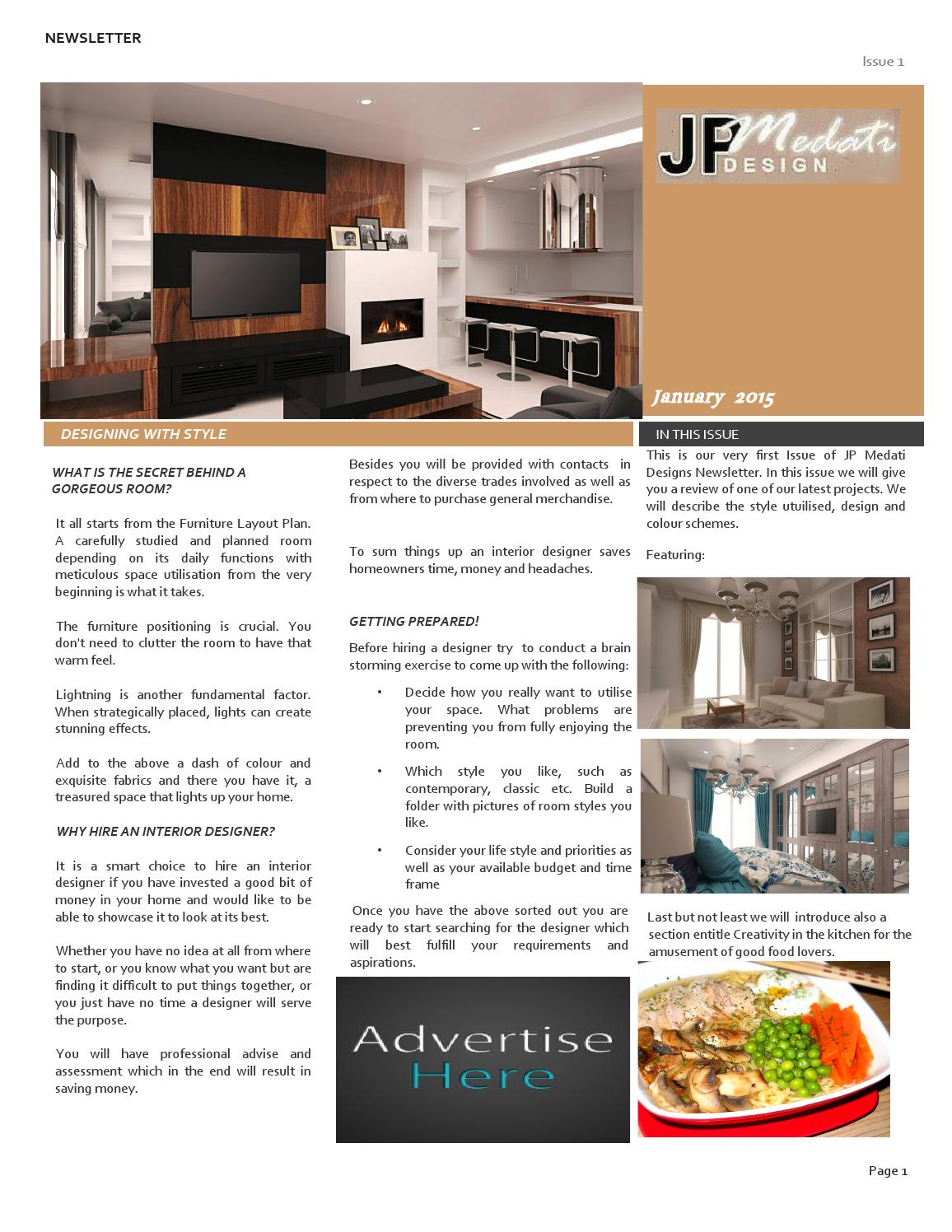JP Medati Interior Design Newsletter Issue 1 January 2015 By Jean Paul