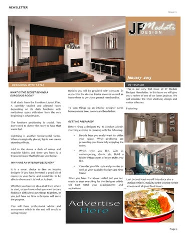 JP Medati Interior Design Newsletter Issue 48January 20485 By Jean Fascinating Interior Design Newsletter