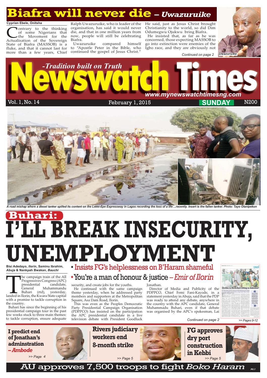 Sunday e version 01 feb 2015 by Daily Newswatch - issuu
