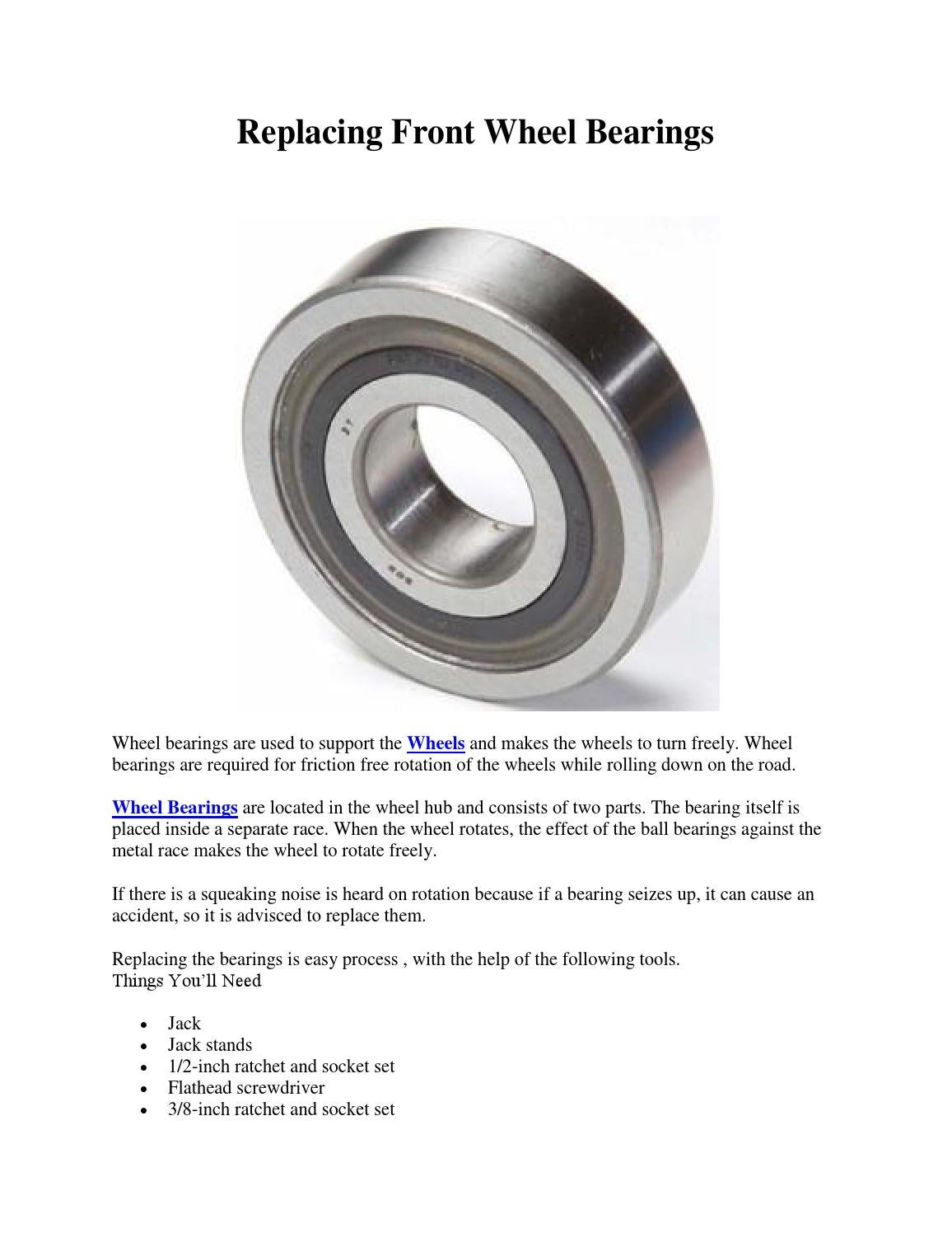 Replacing front wheel bearings by tapsprasad - issuu