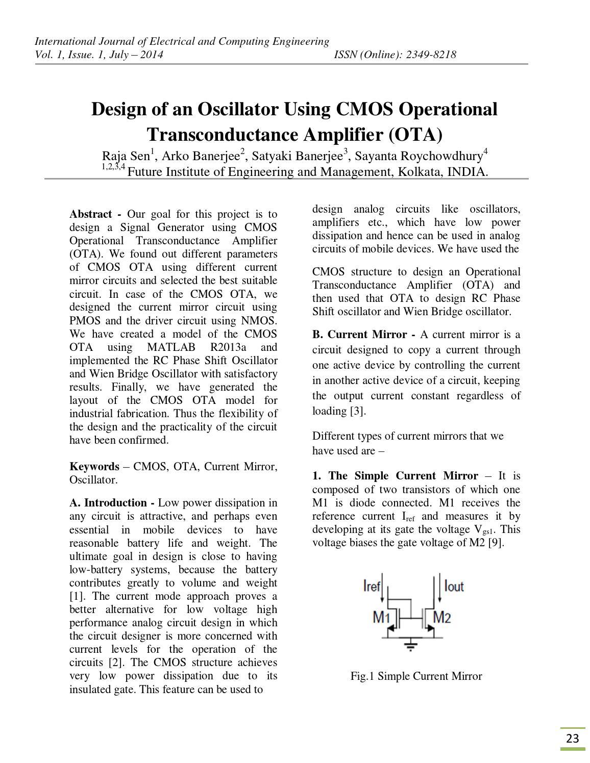 Iisrt 5 Design Of Oscillators Using Cmos Ota By Issuu Rc Bridge And Oscillator Circuit Oscillatorcircuit