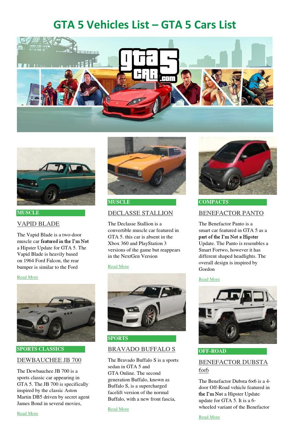GTA 5 Cars List by GTA 5 Cars - issuu