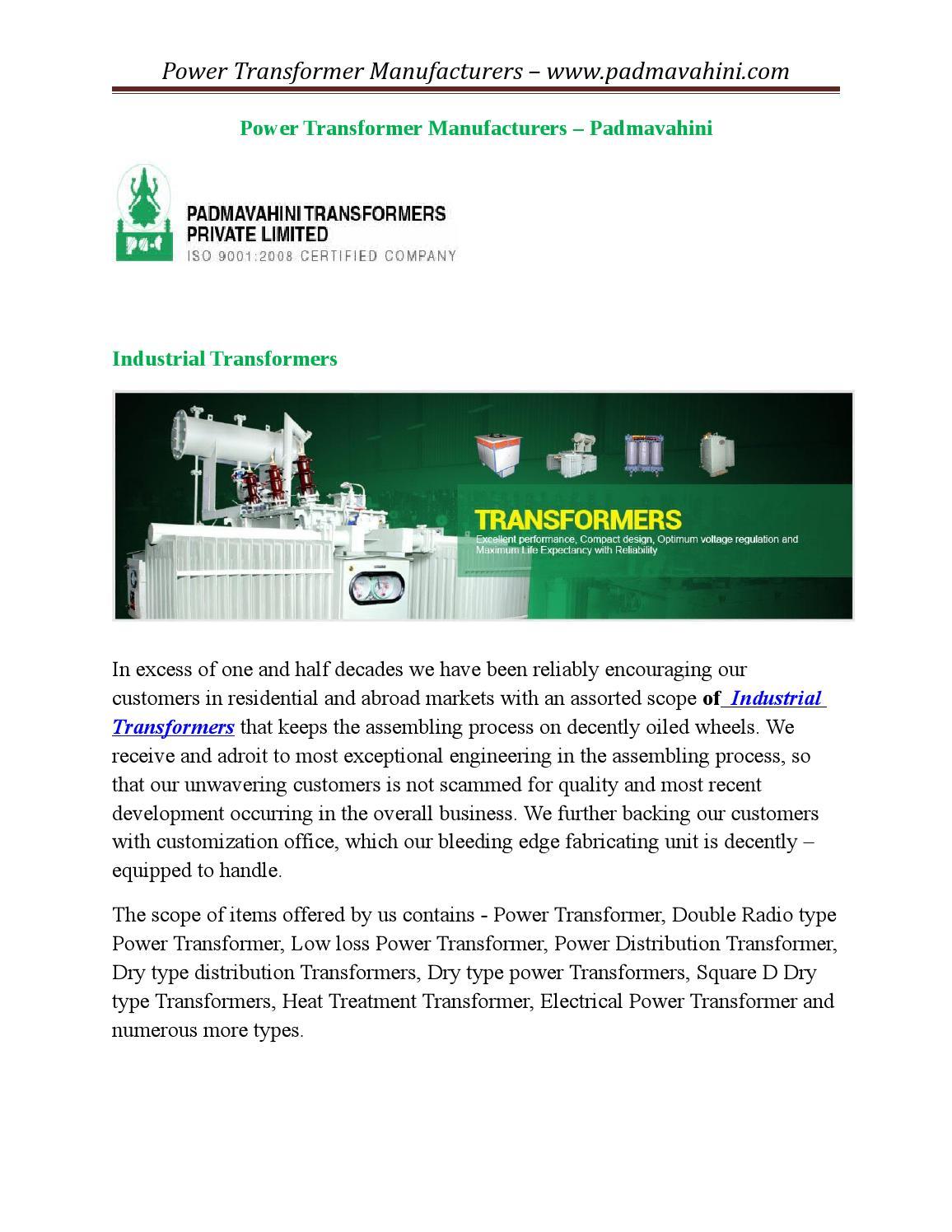 Power transformers manufacturers by Vathirajan transformer