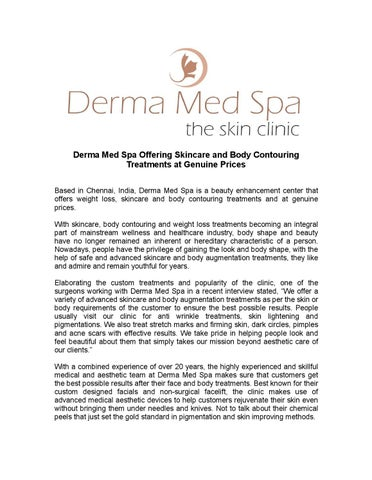 Derma Med Spa Offering Skincare and Body Contouring Treatments at Genuine  Prices