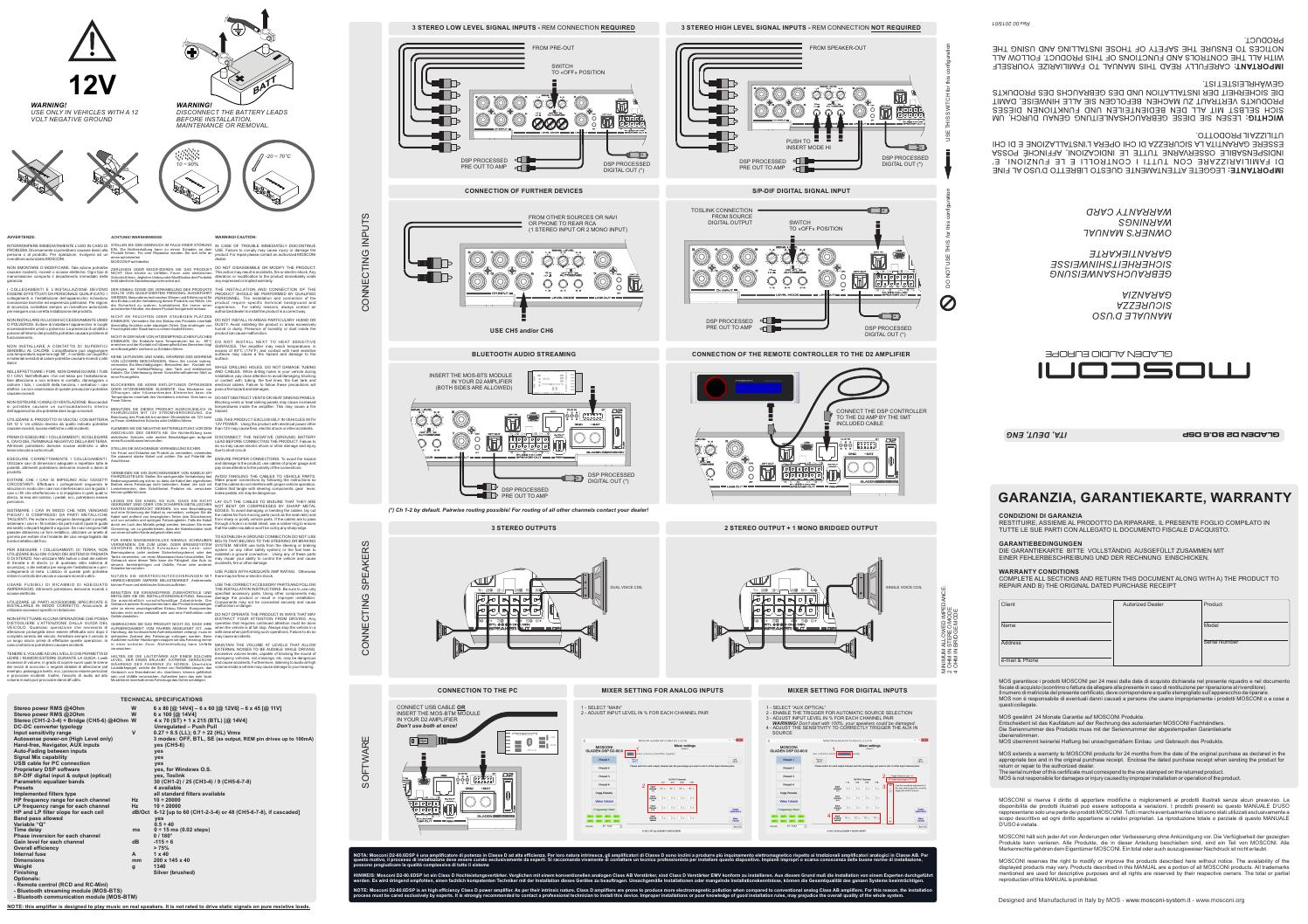 mosconi gladen user manual D2 80 6 dsp amplifier car audio by ...