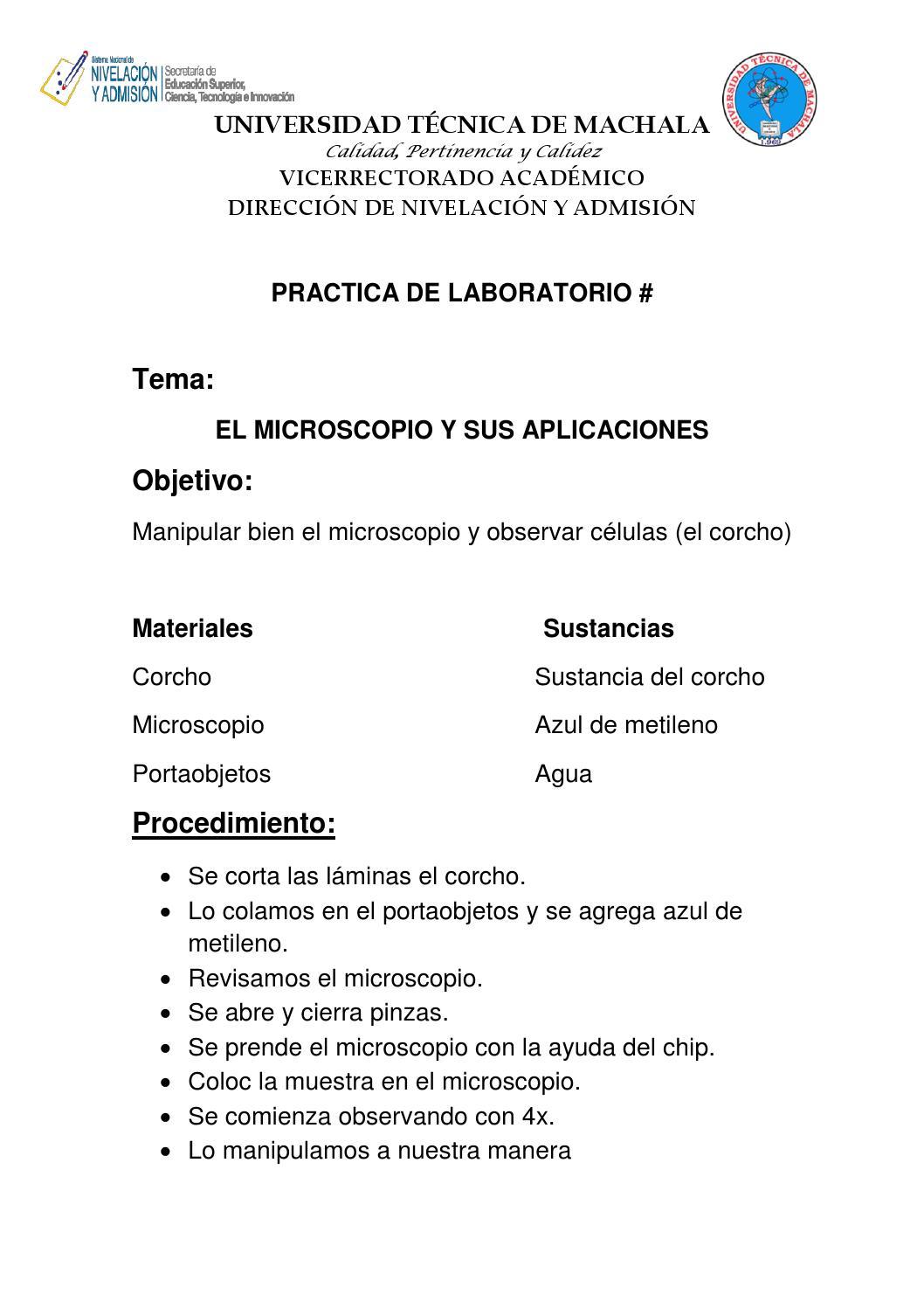 Practicas De Laboratorio El Corcho Y La Cebolla By Samy