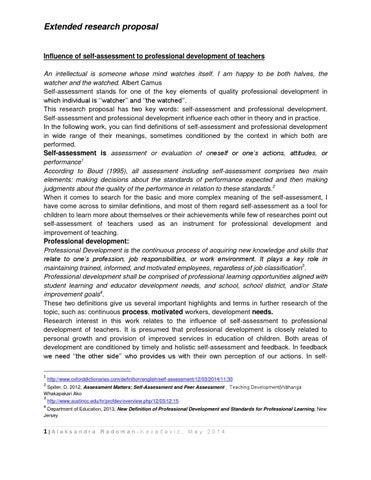 Influence Of Self Assessment To Professional Development Of Teachers