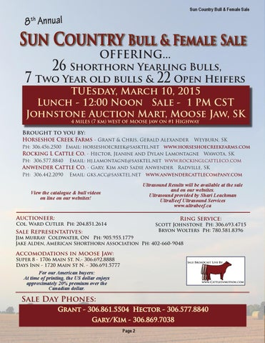 2015 Sun Country Bull and Female Sale by Christine Alexander