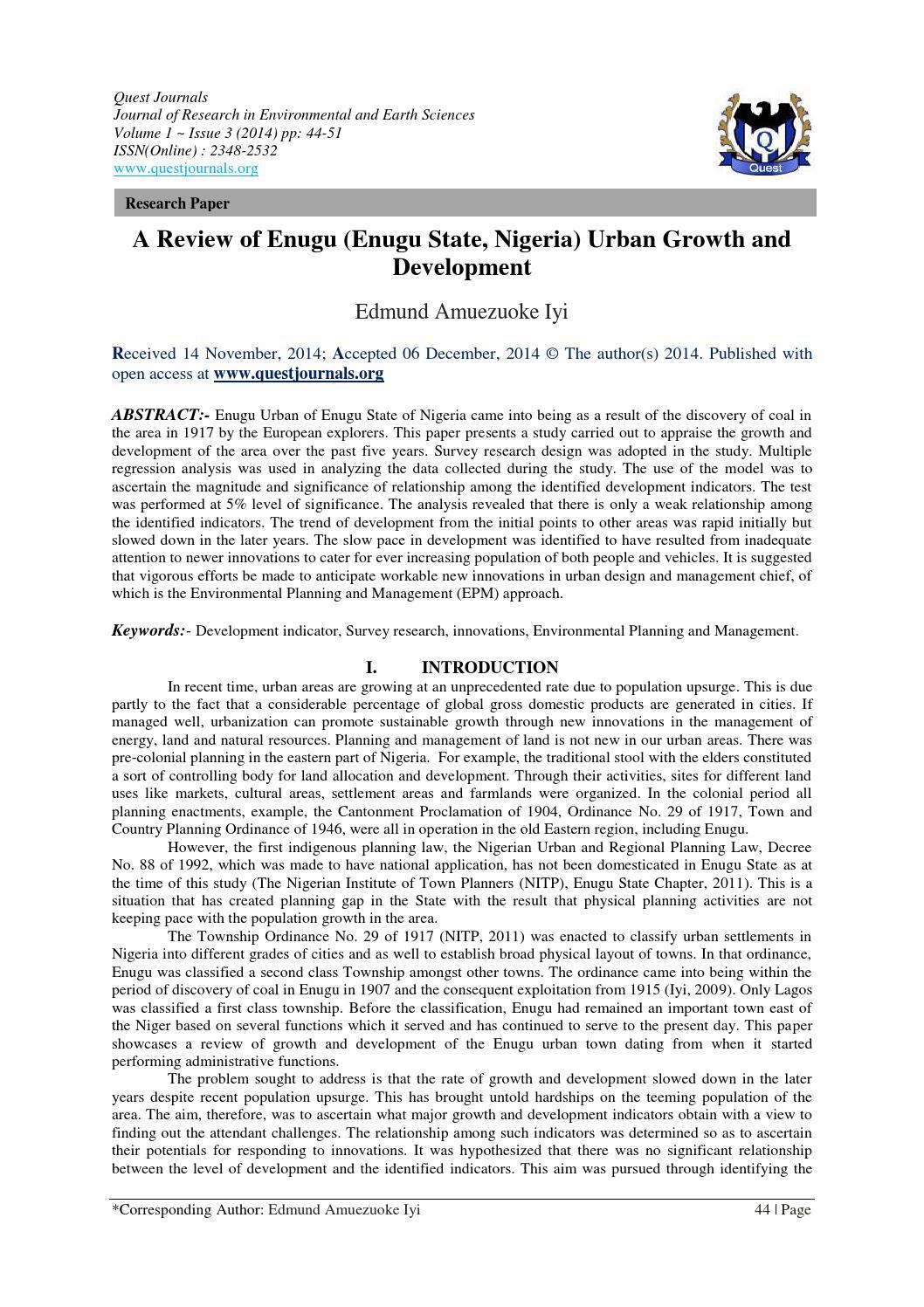 A Review of Enugu (Enugu State, Nigeria) Urban Growth and