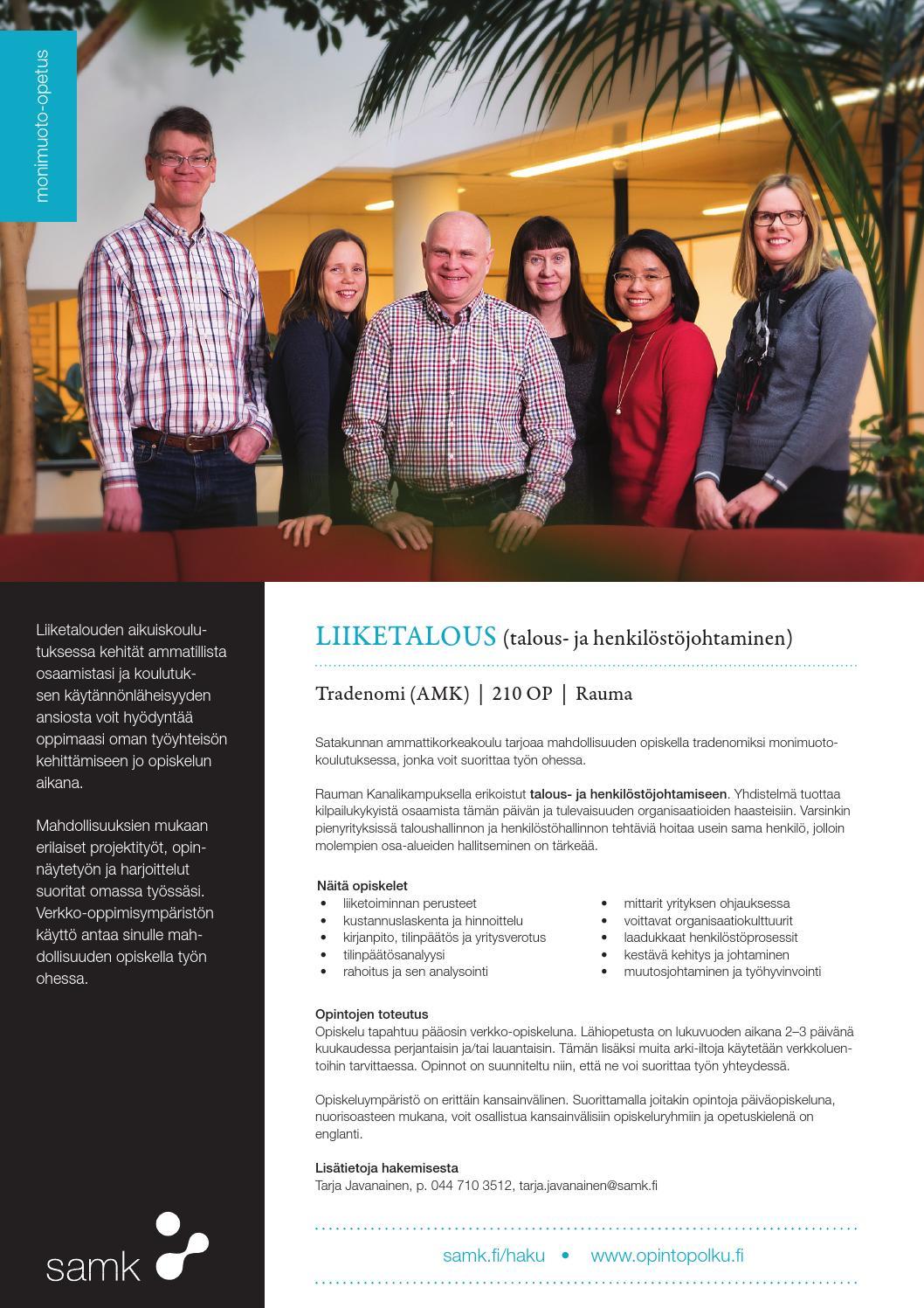 Liiketalous, Rauma, monimuoto by SAMK Satakunta University of Applied Sciences - Issuu