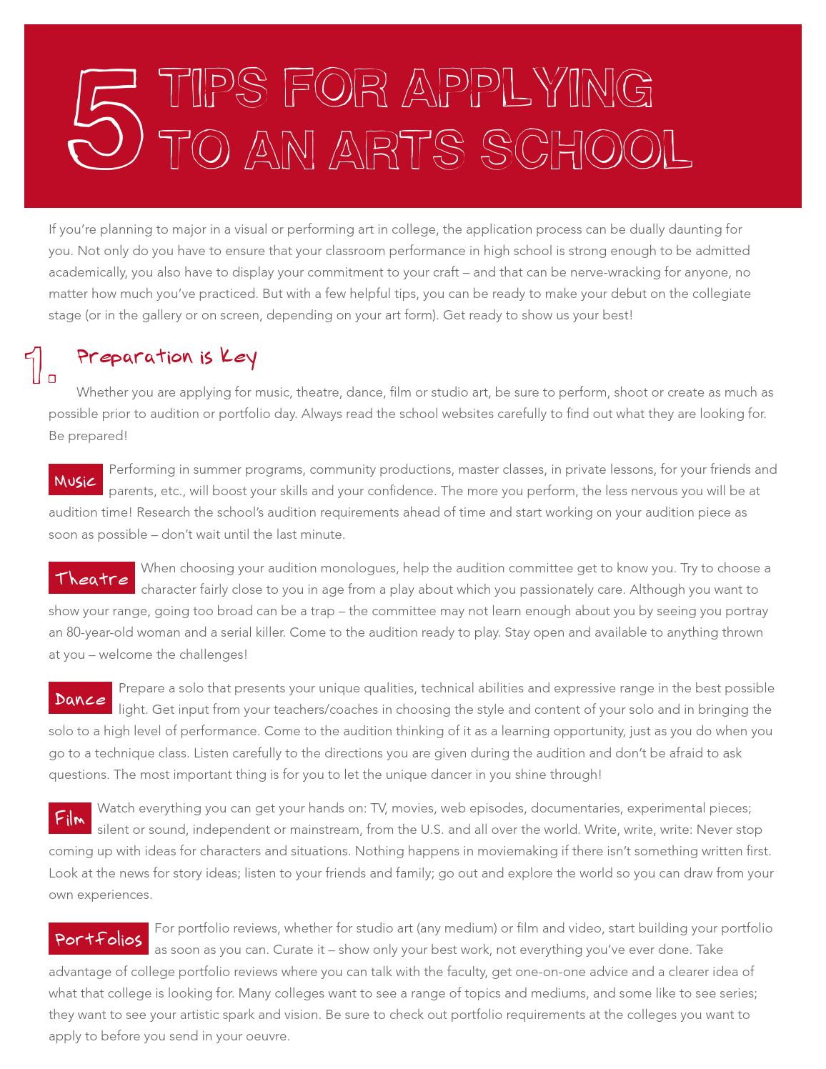 5 tips for applying to a performing or visual arts college