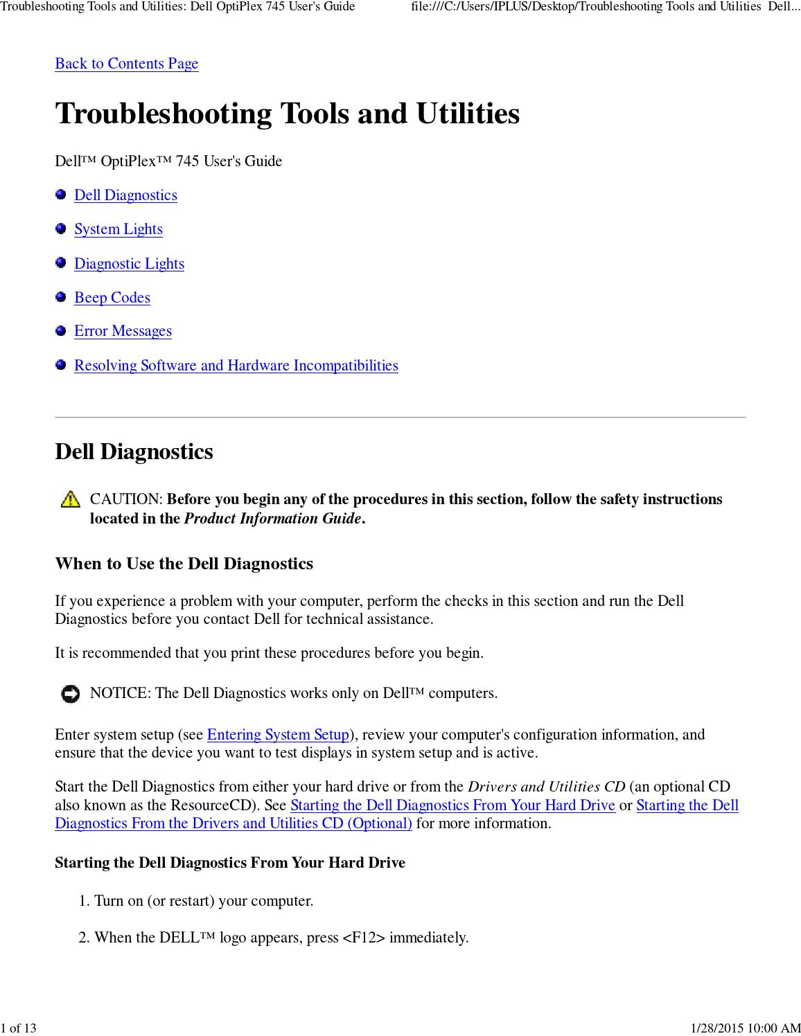 Troubleshooting tools and utilities dell optiplex 745 user's