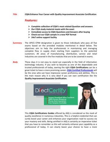 CQIA Exam Questions & Answers by markwarne - issuu