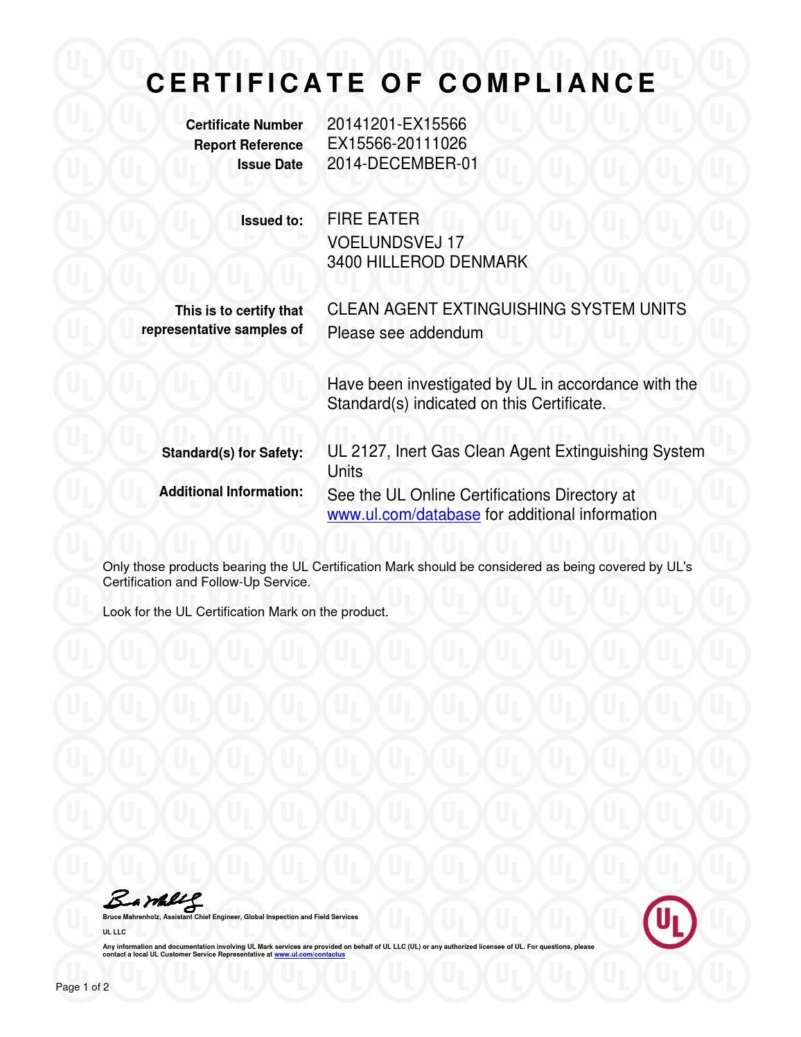 Fire Eater Ul Certificate Of Compliance 2014 12 01 By Fire Eater Issuu