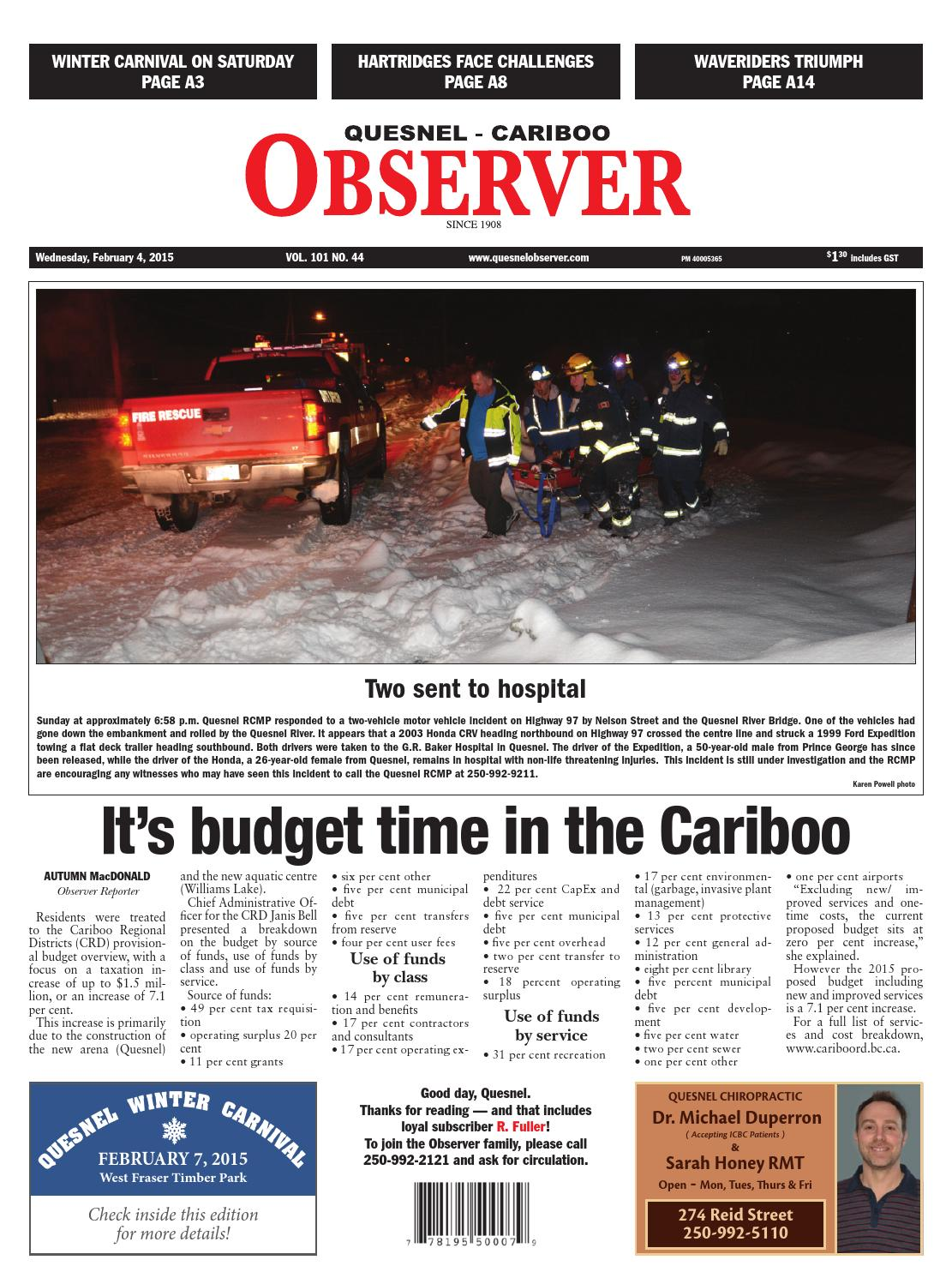 Quesnel Cariboo Observer, February 04, 2015 by Black Press