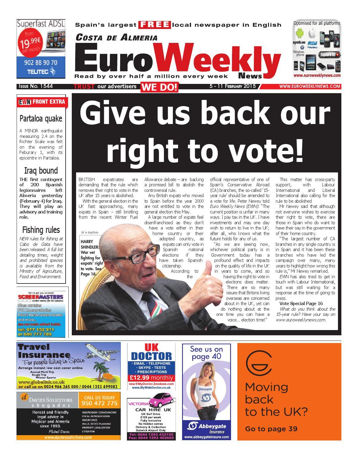 Euro Weekly News - Costa de Almeria 5 - 11 February 2015 Issue 1544 by Euro  Weekly News Media S.A. - issuu
