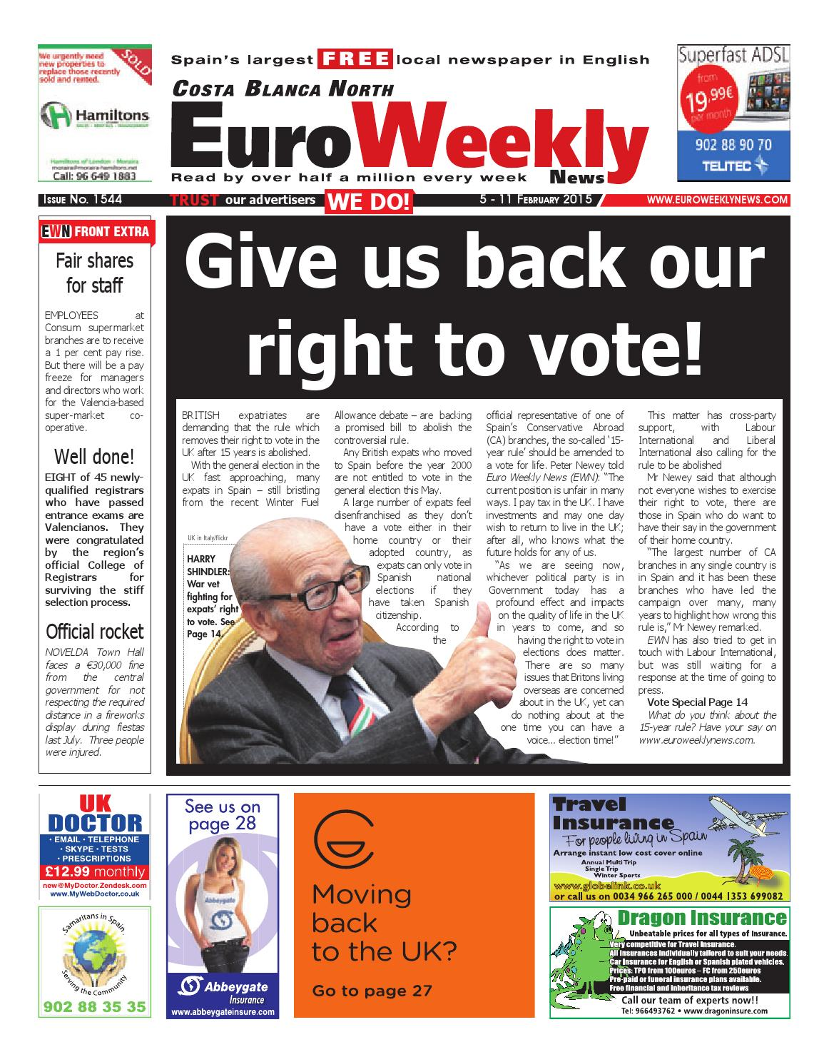 858424a24a8 Euro Weekly News - Costa Blanca North 5 - 11 February 2015 Issue 1544