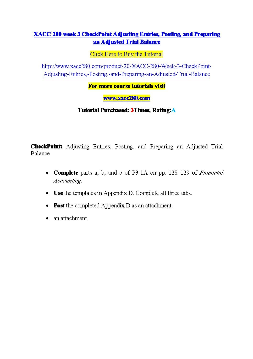 Xacc 280 week 3 checkpoint adjusting entries, posting, and