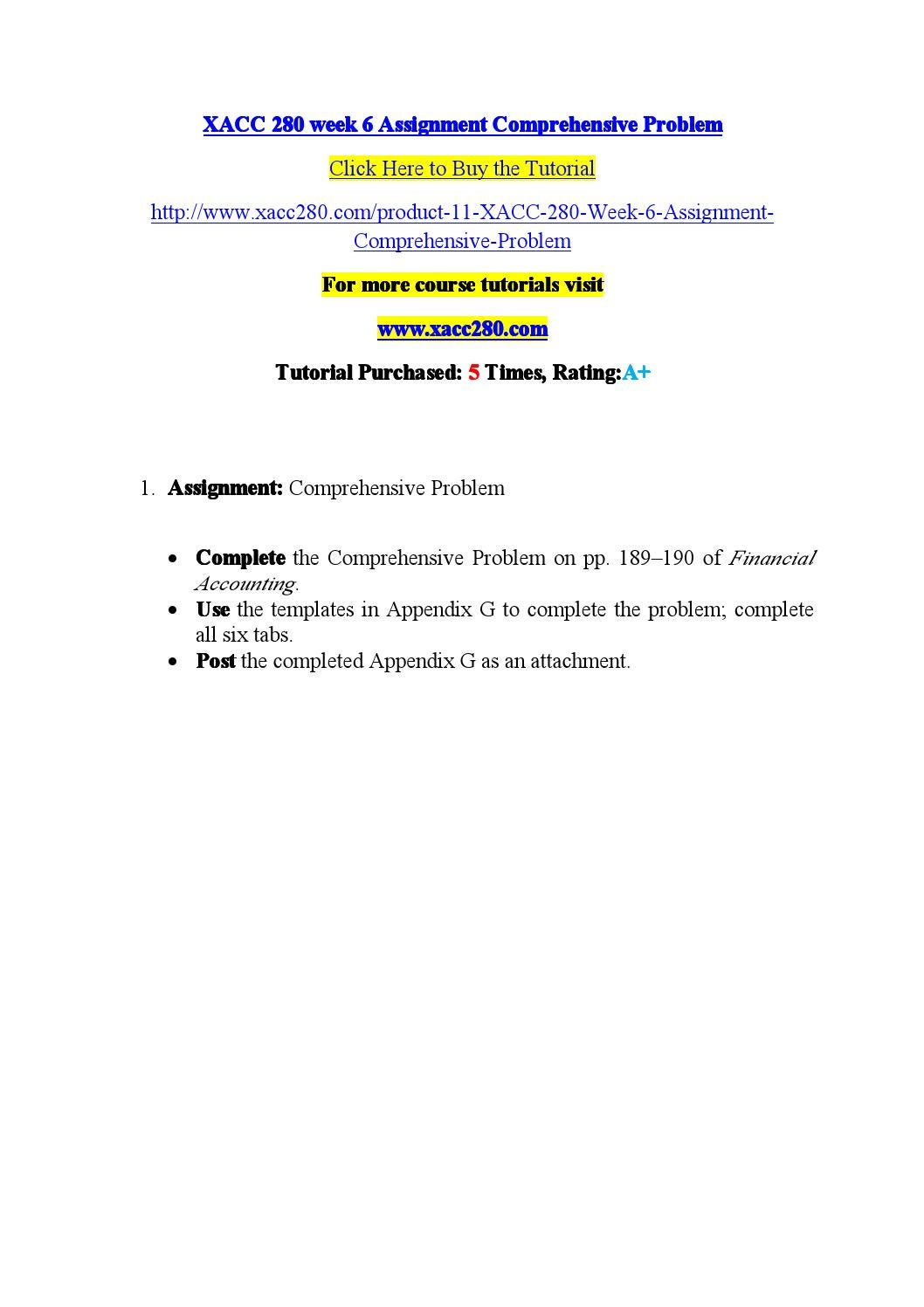 Xacc 280 week 6 assignment comprehensive problem by gtyyu7