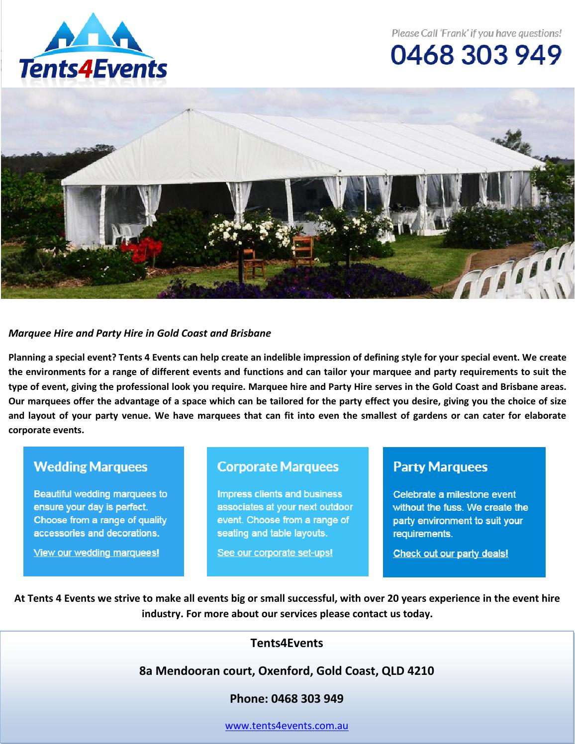 Marquee Hire and Party Hire in Gold Coast and Brisbane by tents4events - issuu  sc 1 st  Issuu & Marquee Hire and Party Hire in Gold Coast and Brisbane by ...