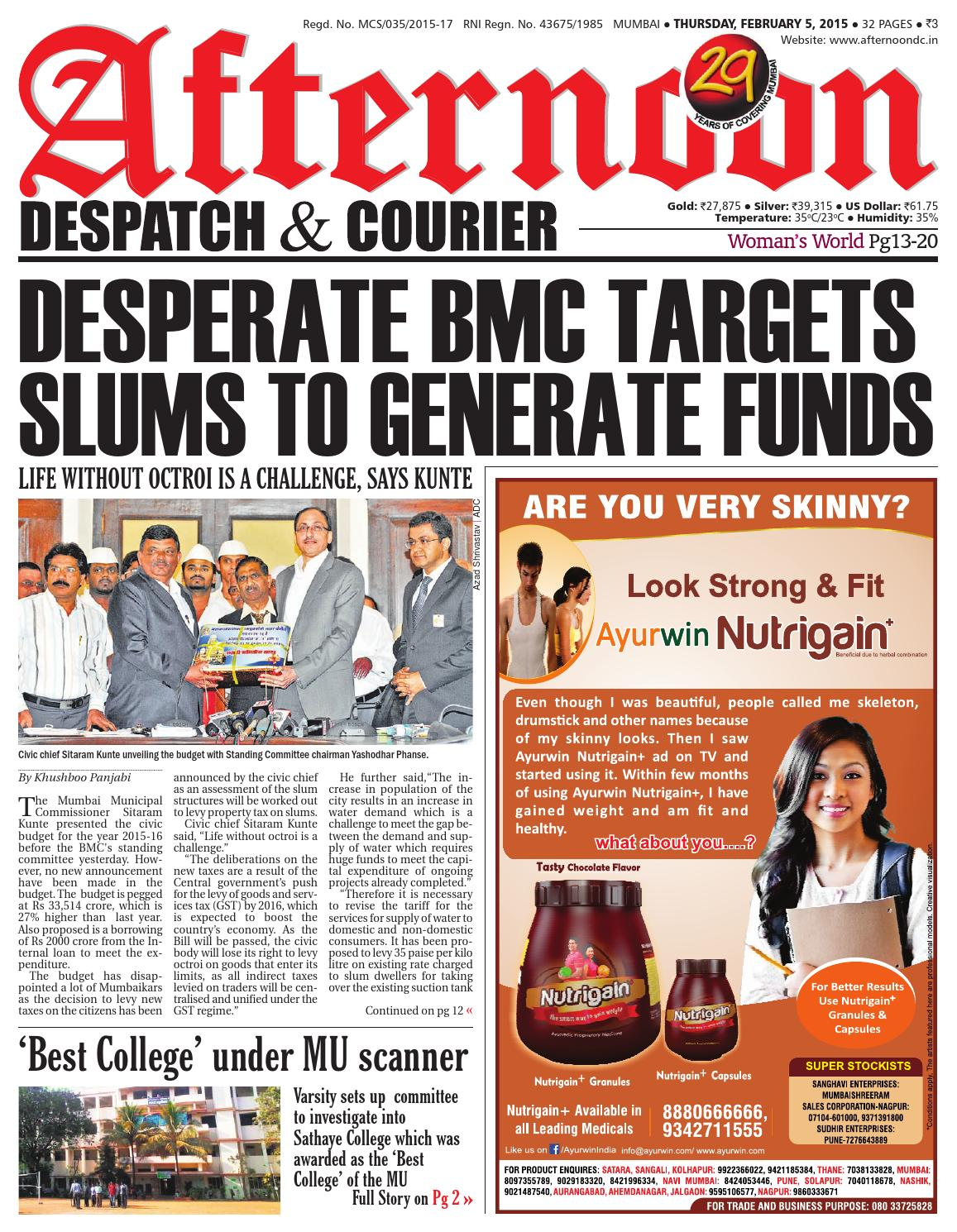 05 feb 2015 by Afternoon Despatch & Courier - issuu