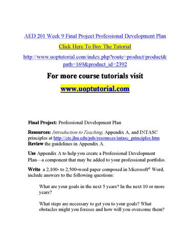 Aed  Week  Final Project Professional Development Plan By