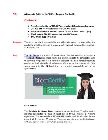 TE0-141 Exam Questions & Answers by markwarne - issuu