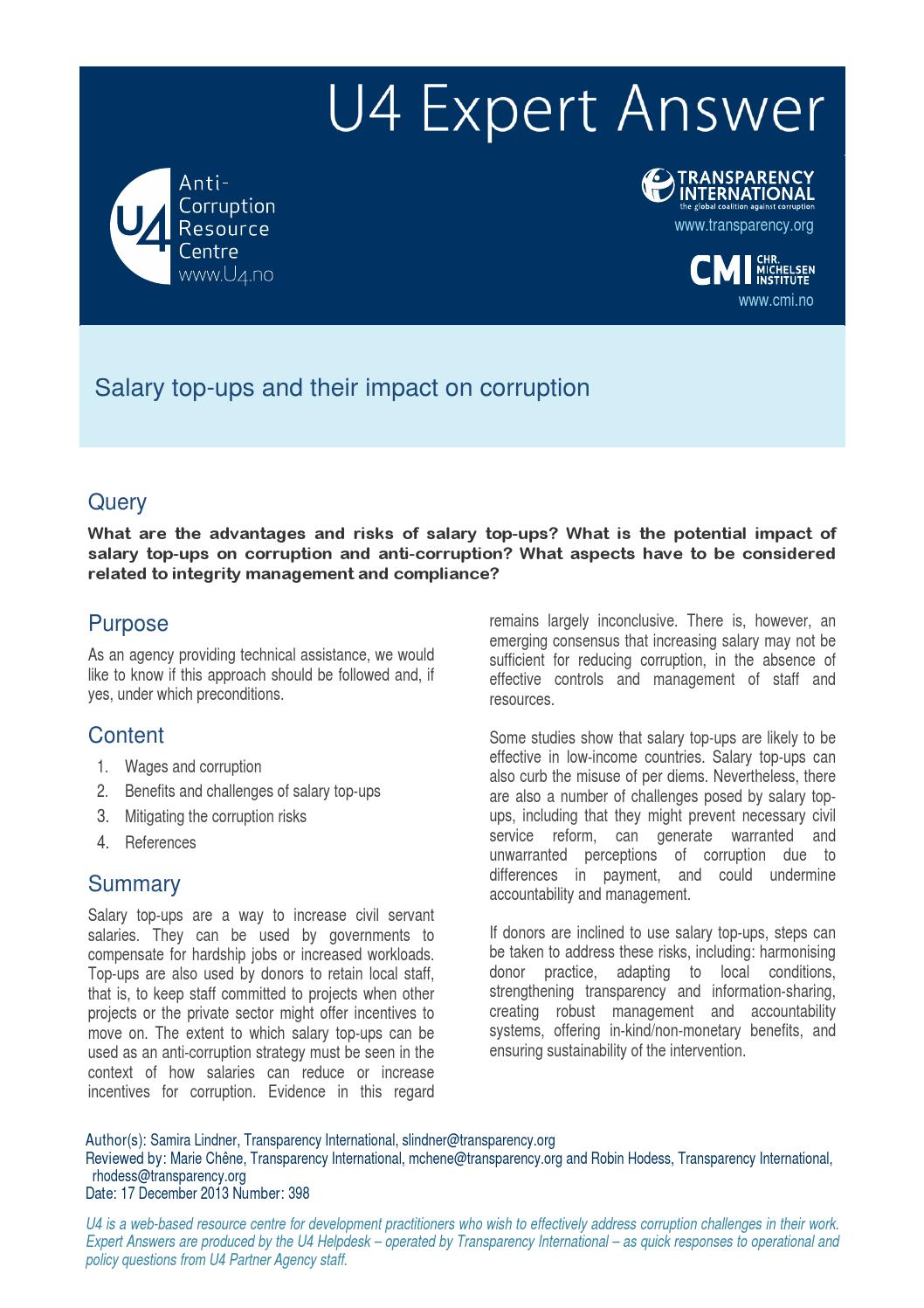 Salary top-ups and their impact on corruption by CMI Chr  Michelsen