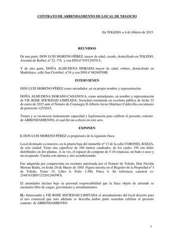 Contrato arrendamiento by virginia issuu - Contrato de alquiler de garaje ...