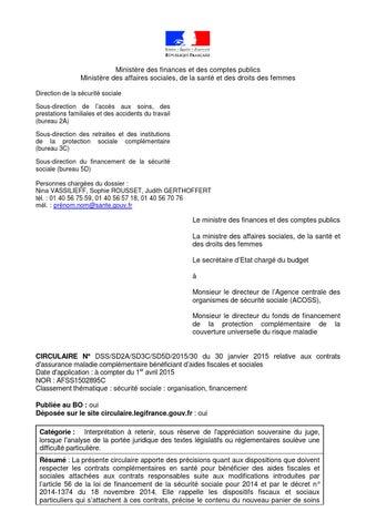Ministère des finances et des comptes publics Ministère des affaires  sociales, de la santé et des droits des femmes Direction de la sécurité  sociale ... 4e422b13eb00