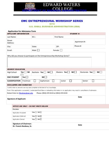 Entrepreneurship Certificate Program Admission Form by Edward Waters ...