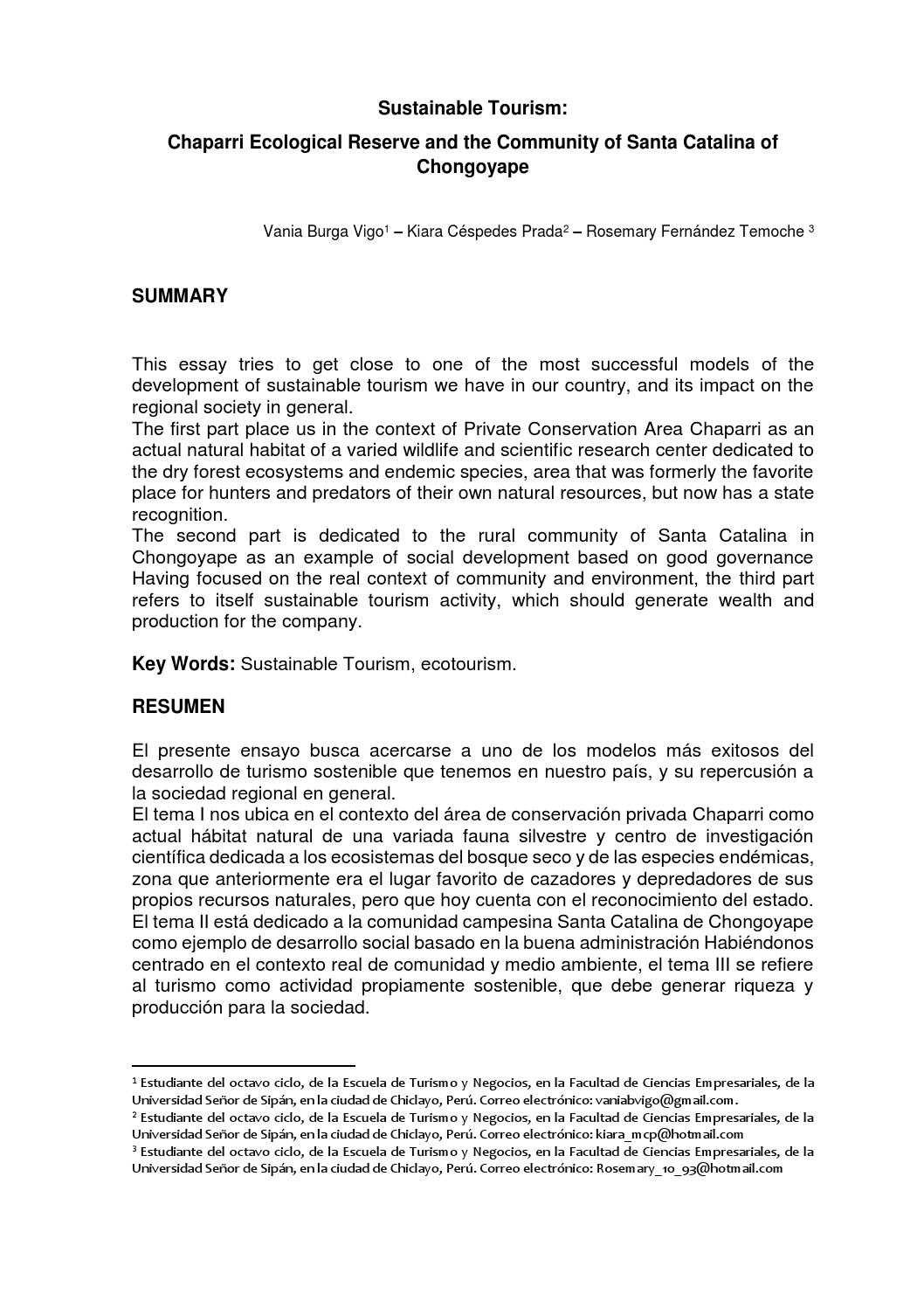 the impact of tourism in peru tourism essay Negative impacts of tourism essay tourism differs from travel in the a report to show the main negative and positive impacts of tourism in.