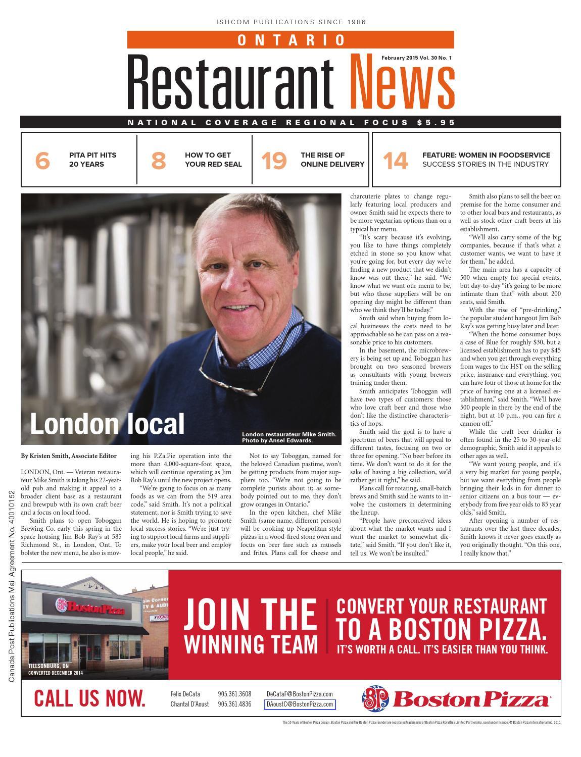 Ontario Restaurant News - February 2015 by Ishcom Publications - issuu