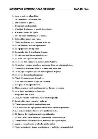 Oraciones Simples Lengua Española Para Analizar By Raúl