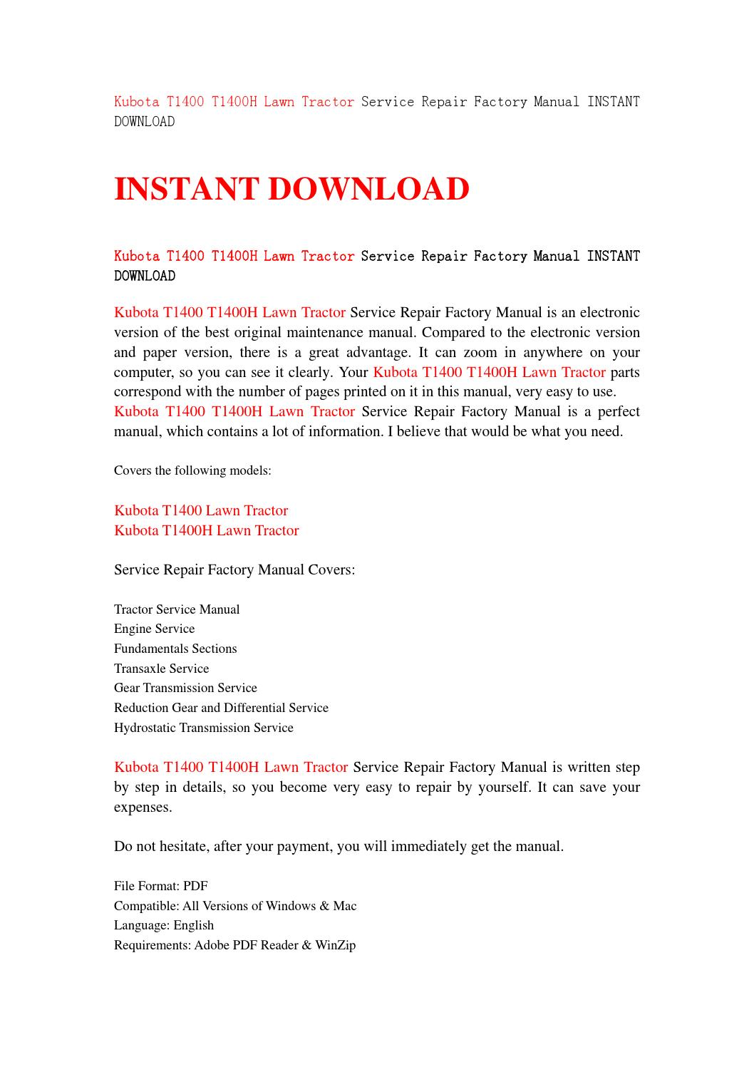 Kubota t1400 t1400h lawn tractor service repair factory manual instant  download by kjsnehfmsne - issuu