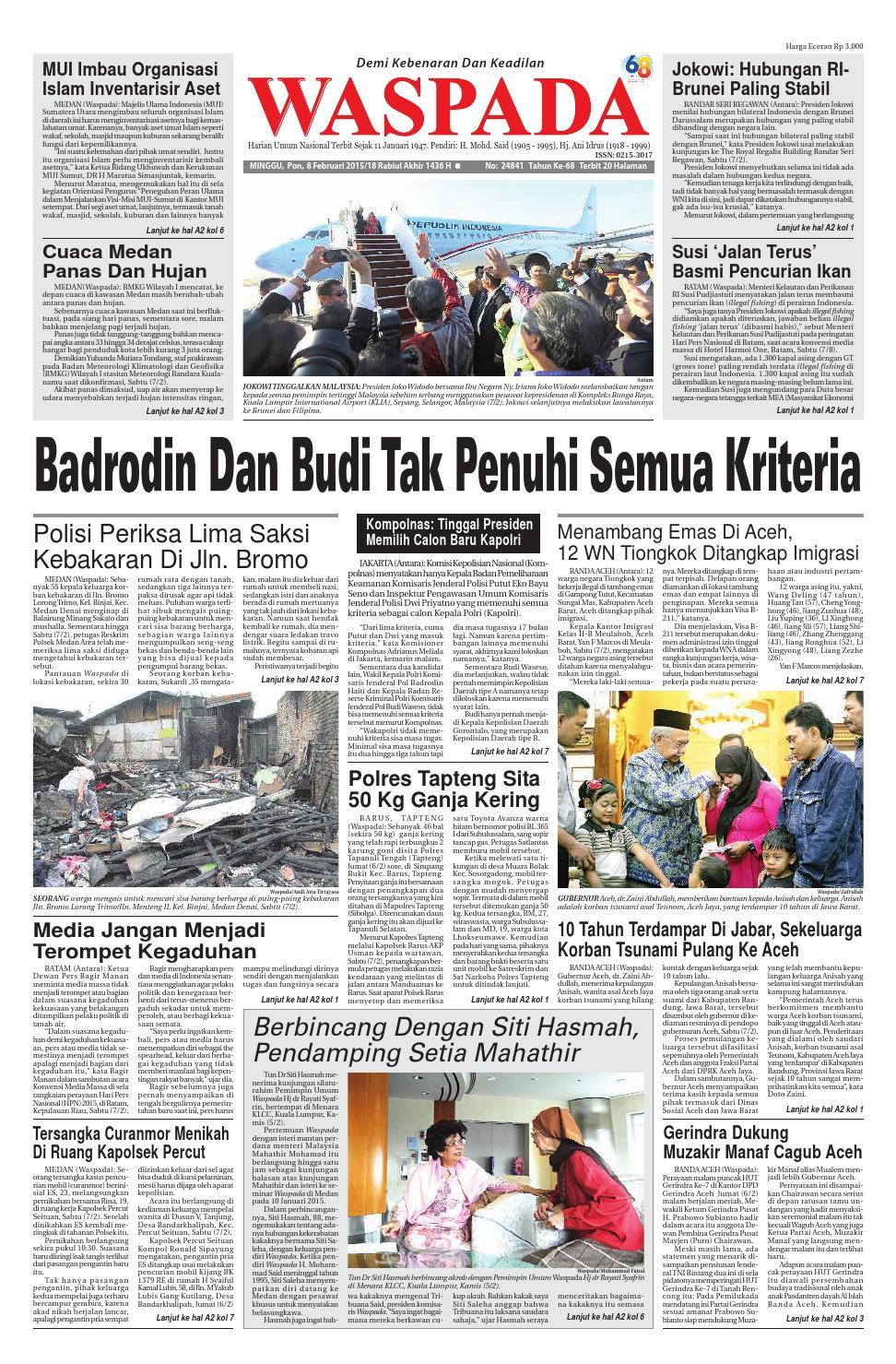 Waspada Minggu 8 Februari 2015 By Harian Issuu Jam Tangan Fashion Couple Pinewood  Sepasang