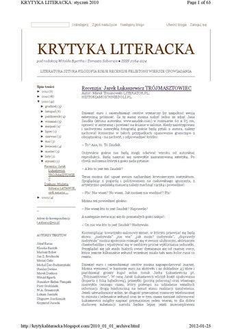 Krytyka Literacka 2010 By Krytyka Literacka Issuu