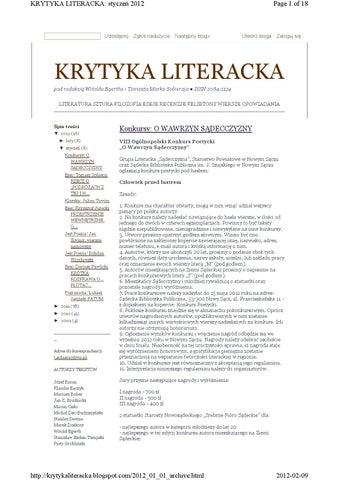 Krytyka Literacka 2012 By Krytyka Literacka Issuu