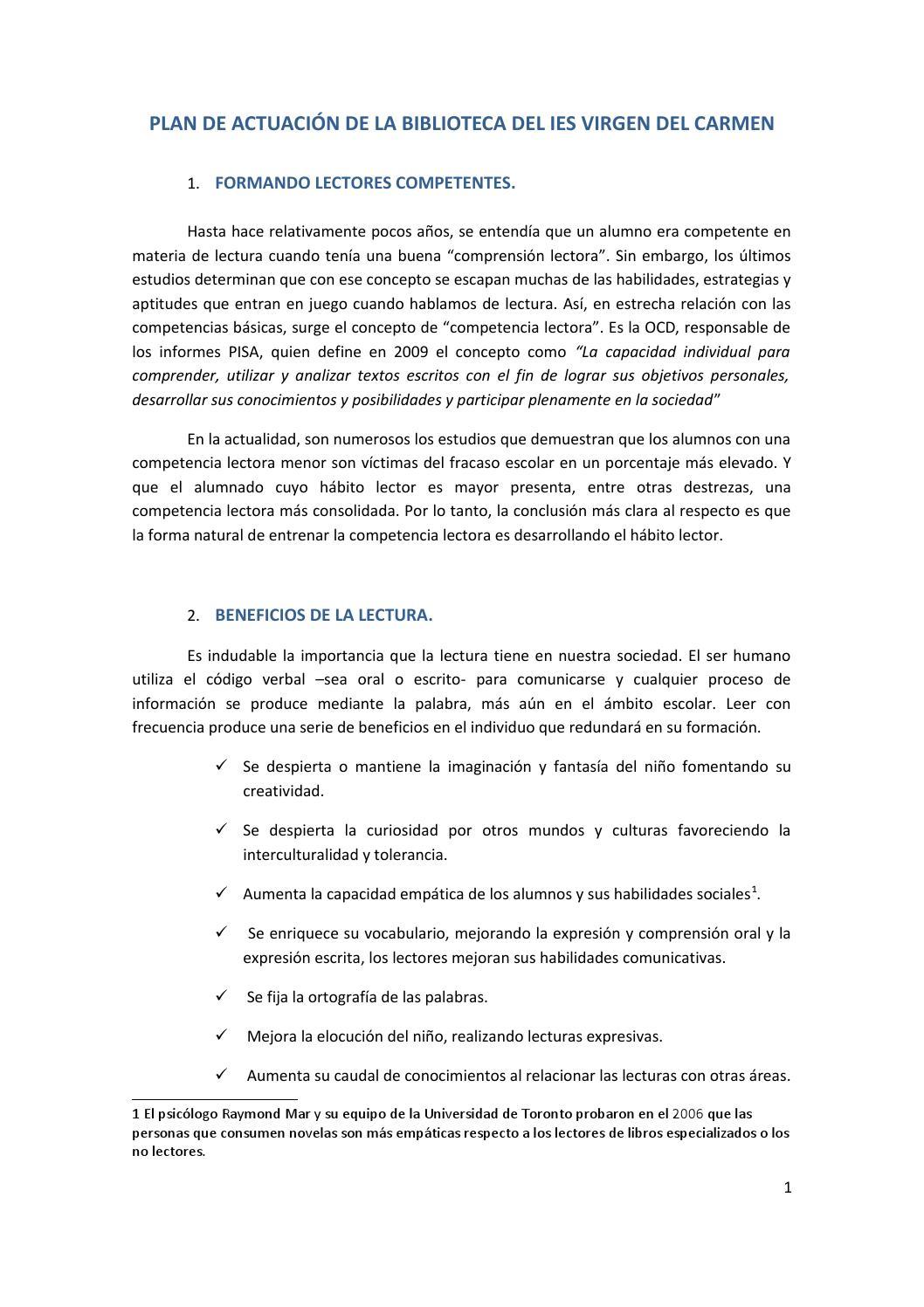 Plan de actuación de la biblioteca del ies virgen del carmen by ...