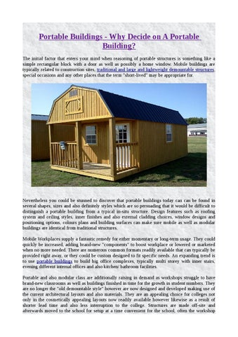Portable buildings why decide on a portable building by